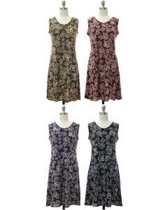 Sleeveless Ornate Floral Dress - Assorted
