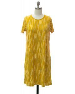 Short Sleeve Brushed Shift Dress - Mustard