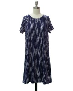 Short Sleeve Brushed Shift Dress - Navy