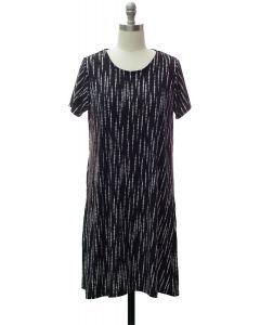 Short Sleeve Brushed Shift Dress - Black