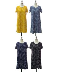 Short Sleeve Brushed Shift Dress - Assorted