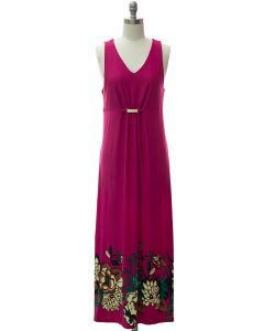 Jewel Waist Maxi Dress - Fuschia