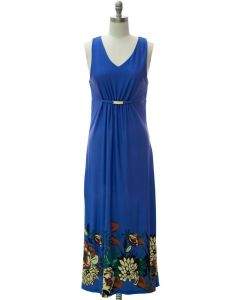 Jewel Waist Maxi Dress - Blue