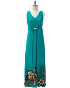 Jewel Waist Maxi Dress - Teal