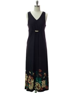 Jewel Waist Maxi Dress - Black
