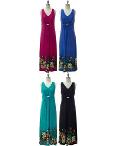 Jewel Waist Maxi Dress - Assorted