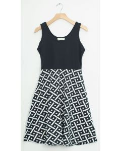 Liverpool Colorblock Midi - Black White Geo