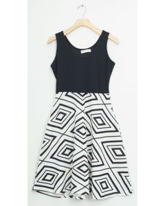 Liverpool Colorblock Midi - Black White Diamond