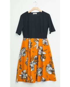 Liverpool Quarter Sleeve Pleat Midi - Mustard Floral