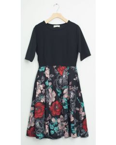 Liverpool Quarter Sleeve Pleat Midi - Pink Red Floral