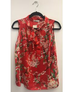 Sleeveless Tie Neck Blouse - Red Floral