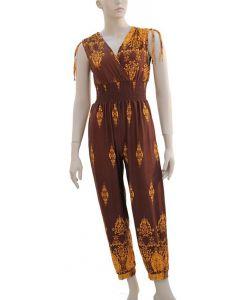 Ornate Border Print Jumpsuit - Taupe