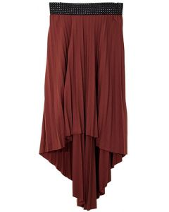 High Low Pleated Skirt - Brown - LAST FINAL SALE