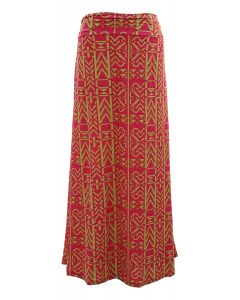 Side Ruched Maxi Skirt - Hot Pink/Yellow - LAST FINAL SALE