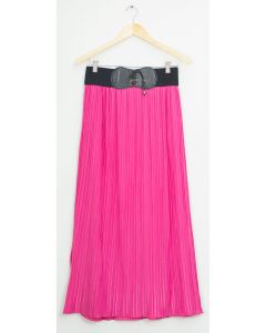Faux Belt Maxi Skirt - Fuschia