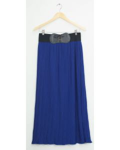Faux Belt Maxi Skirt - Royal Blue