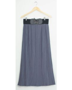 Faux Belt Maxi Skirt - Grey Blue