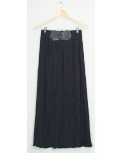 Faux Belt Maxi Skirt - Black