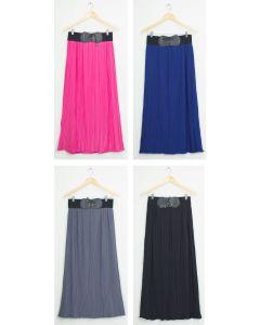 Faux Belt Maxi Skirt - Assorted
