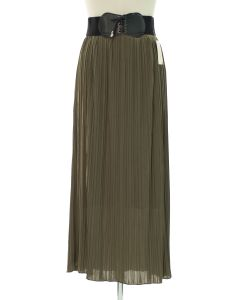 Faux Belt Pleated Skirts - Olive
