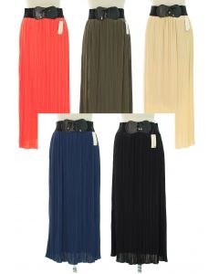 Faux Belt Pleated Skirts - Assorted