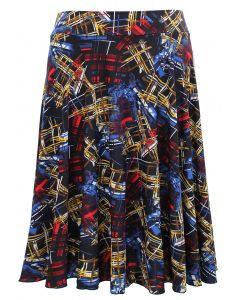 Plus. Obstract Print Skirt - Red