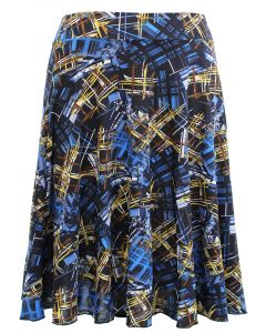 Plus. Obstract Print Skirt - Blue