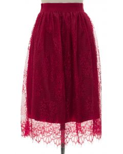 Lace Skirt - Red - LAST FINAL SALE