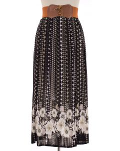 Belted Floral Pleated Skirt - Black