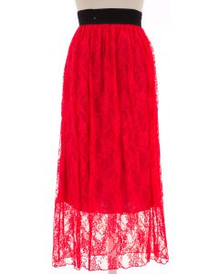 Maxi Lace Skirt - Red