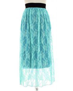 Maxi Lace Skirt - Aqua