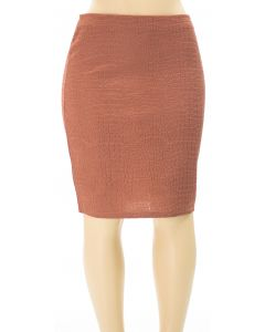 Plus. Embossed Pencil Skirt - Brown