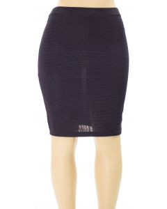 Plus. Embossed Pencil Skirt - Black