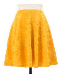 Floral Embossed Skater Skirt - Mustard