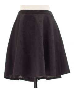 Floral Embossed Skater Skirt - Black