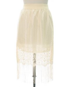 Lace Shell Knee Lengh Skirt - Ivory