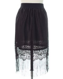 Lace Shell Knee Lengh Skirt - Black
