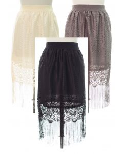 Lace Shell Knee Lengh Skirt - Assorted