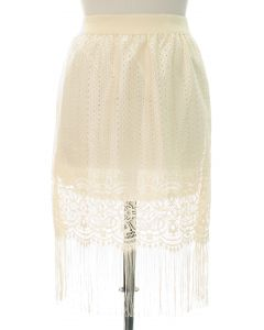 Plus Plus Lace Shell Knee Lengh Skirt - Ivory