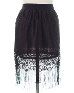 Plus Plus Lace Shell Knee Lengh Skirt - Black