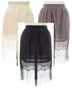 Plus Plus Lace Shell Knee Lengh Skirt - Assorted