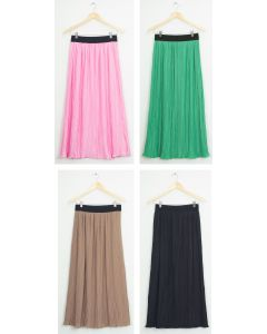 Elastic Band Pleated Maxi Skirt - Assorted