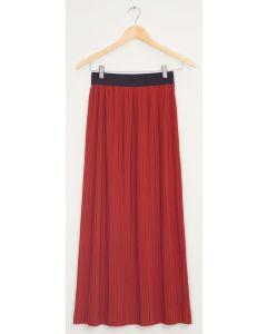 Banded Waist Maxi Skirt - Brick