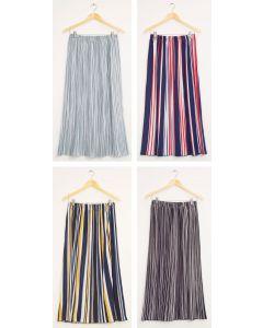 Stripe Pleated Maxi Skirt - Assorted