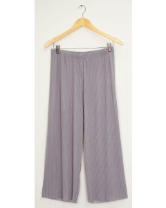 Pleated Wide Leg Trousers - Silver