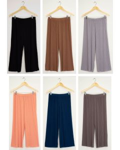 Pleated Wide Leg Trousers - Assorted