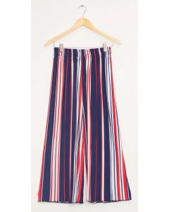 Stripe Wide Leg Pleated Trousers - Red White Blue