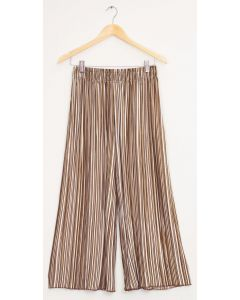Stripe Wide Leg Pleated Trousers - Sepia