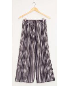 Stripe Wide Leg Pleated Trousers - Black