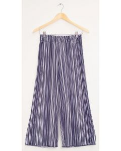Stripe Wide Leg Pleated Trousers - Navy